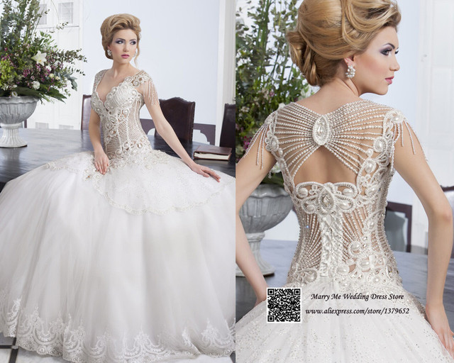 Gorgeous 2015 White Beading Pearl Lace Ball Gown Wedding Dresses Cap Sleeve Princess Bridal Dress Tulle