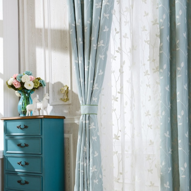 Slow Soul Cotton Embroidered Curtains Light Blue White Leaves Window