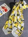 [Визуальной Оси] Милые женщины Lemon Шарф Люксовый Бренд Чисто Шелковые Шарфы и Платки Бандана Женский Негабаритных Продолговатые Платки Моды