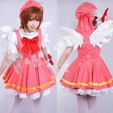 Cardcaptor Sakura kinomoto sakura, карнавальный костюм, волшебная девушка, Лолита, панк, платье+ шляпа+ крылья, костюм, комплект