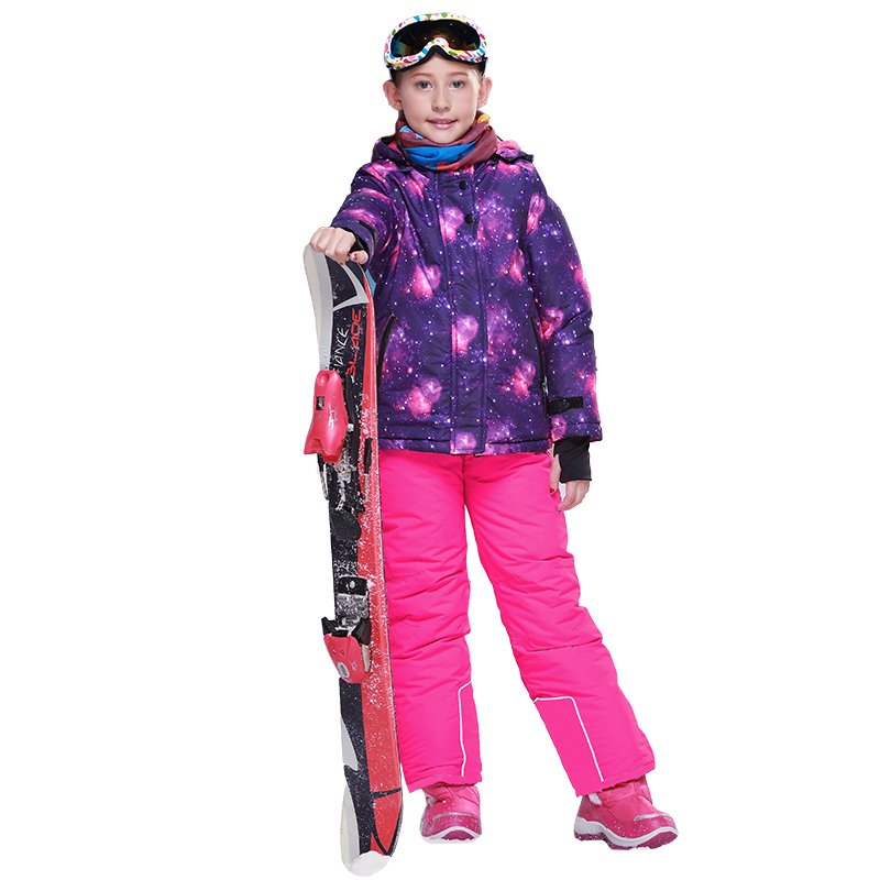 Dollplus 2018 Fashion Windproof Waterproof Children's Ski Suits Winter Outdoor Sports Suits for Girls Sets Clothes Jacket Pants цены
