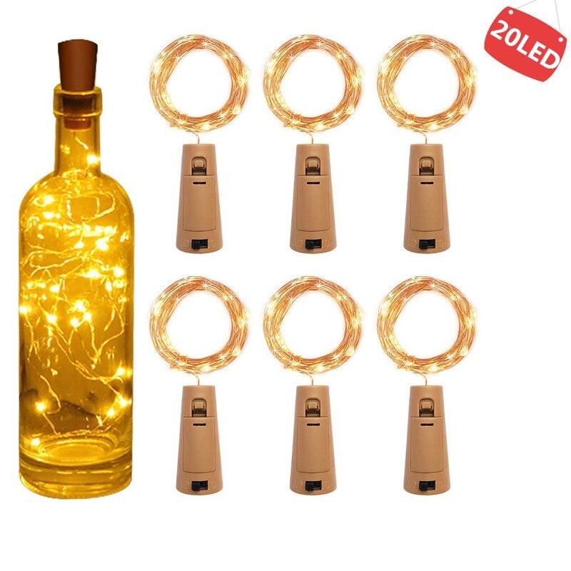 Гирлянда, светодиодная бутылка для вина с пробкой, 20 светодиодных ламп для бутылки, батарея, пробка для вечеринки, свадьбы, Рождества, Хэллоу... title=