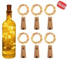 Garrafa de vinho LED de corda, com rolha, 20 luzes de garrafa LED, bateria de rolha para festa, casamento, natal, dia das bruxas, decoração de bar, branco quente
