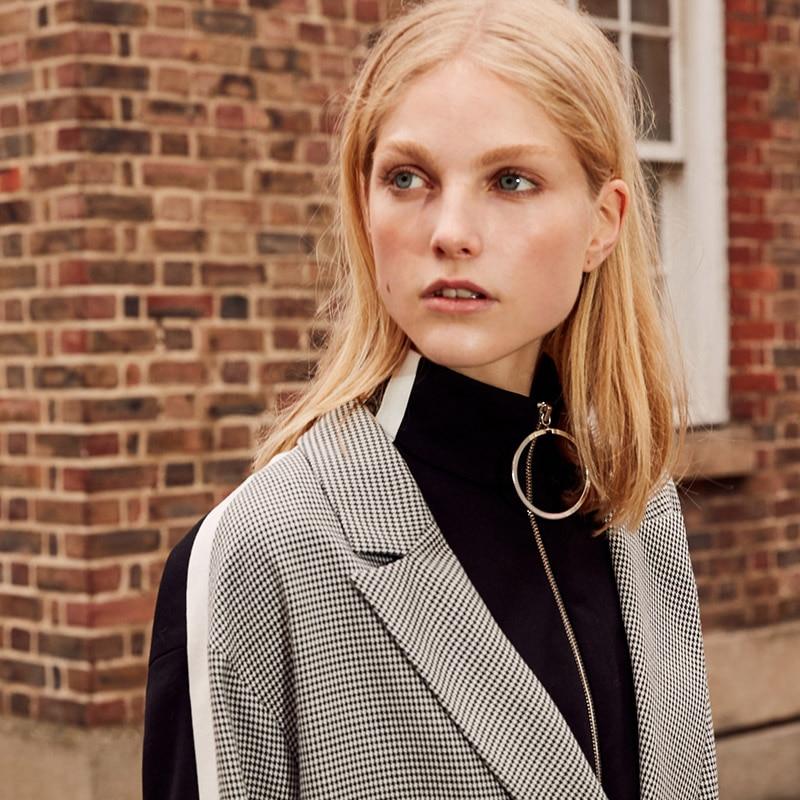 Vero Moda 19 New Stripe Splice Knitted Houndstooth Suit Jacket Plaid women Long Blazer 318308536 15