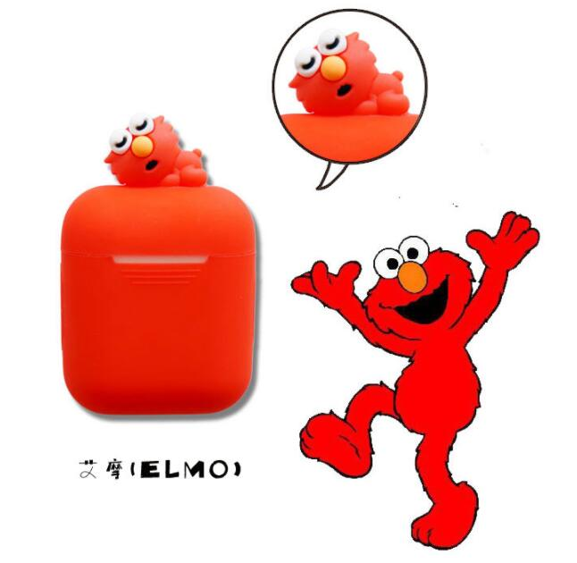 Cute Sesame Street Elmo Cookie Earphone Silicone Case For Apple AirPods Headphones Cases Pouch Cartoon Protable Case For Airpods