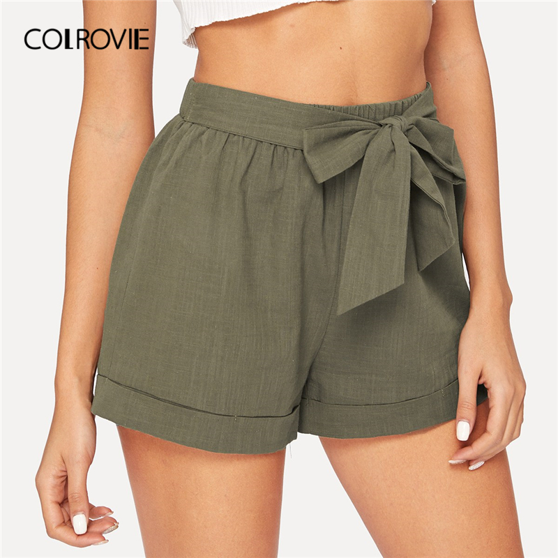 COLROVIE Army Green Solid Self Belted Elastic Waist Casual Shorts Yong Women Clothing 2019 Summer Streetwear Lady Elegant Shorts