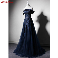 Navy Blue Long Lace Evening Dresses Party A Line Custom Made Prom Formal Evening Gowns Dresses robe de soiree longue