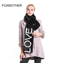 FOXMOTHER New Brand Winter Fashion Soft Faux Fur Collar Love Letter Scarf Women Bufanda Mujer Foulard Valentines Day