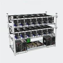 Open Air Mining Rig Frame Miner Case + 10 LED Fans For 14 GPU