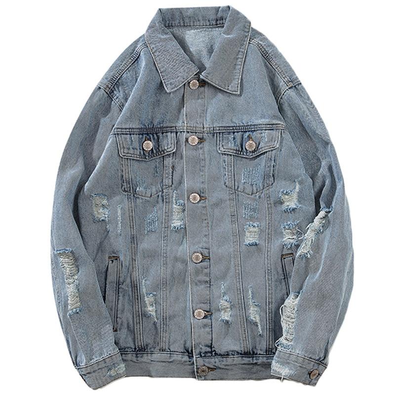 Aolamegs Denim Jacket Men Printed Blue Hole Cowboy Men's Jacket Casual High Street Fashion Outwear Men Coat Streetwear Autumn