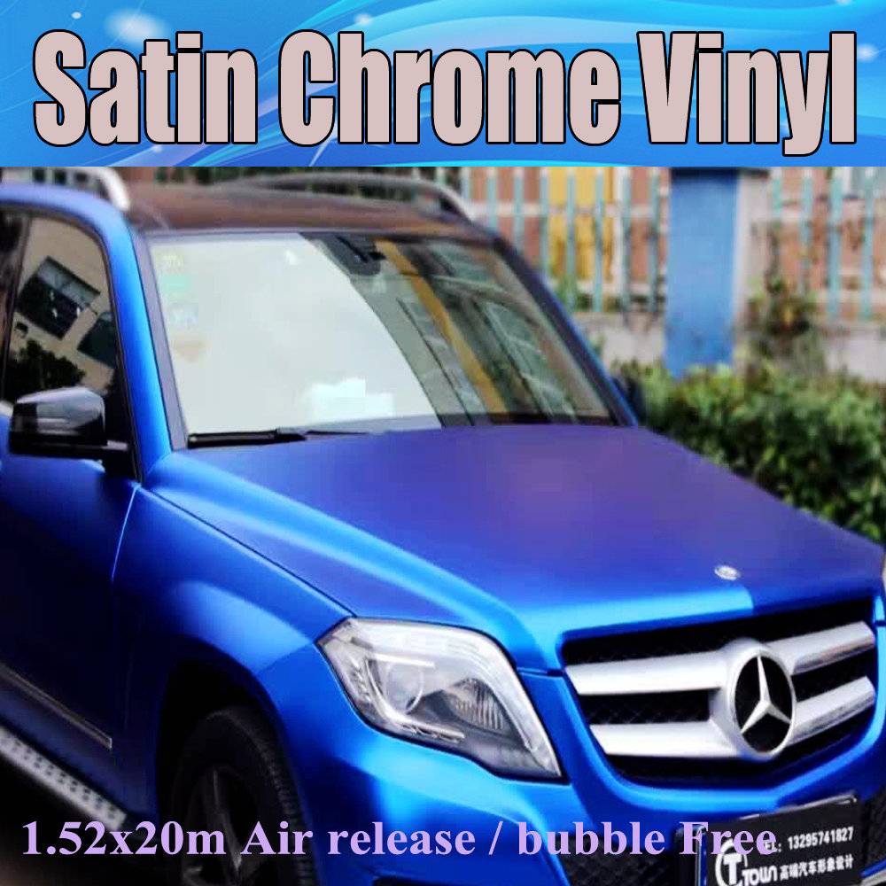 protwraps dark blue satin chrome vinyl car wrap film with air bubble free for vehicle graphics. Black Bedroom Furniture Sets. Home Design Ideas