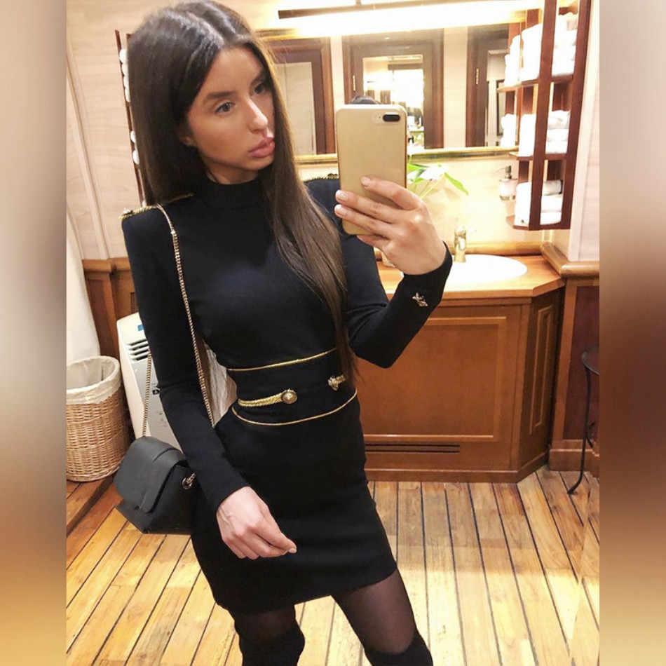 Dressbird 2019 Новые поступления Для женщин Весна с длинным рукавом облегающее платье Vestidos, элегантное платье, с круглым вырезом, Мини Черное Платье для вечеринок подиума Vestido