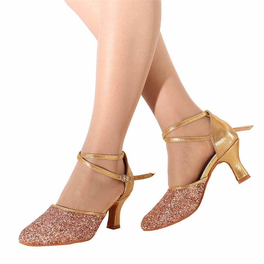 SAGACE ฤดูร้อนผู้หญิงรองเท้าแตะแฟชั่นสตรี Waltz โมเดิร์นรองเท้าเต้นรำบอลรูมเต้นรำรองเท้าแตะด้านล่างนุ่ม #30