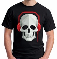 Joke T Shirts Gildan Crew Neck Men Short Sleeve Skull Headphones Dj Rave Festival Music Graphic
