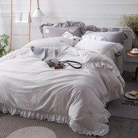 4Pcs Washed Cotton Pure 8 Colors Bedding Set Personal Comfort Queen King Size Duvet Cover Set