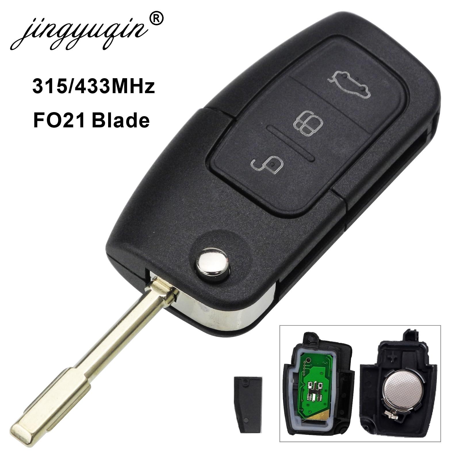 Mando a distancia de 3 botones jingyuqin, 433/315MHz, 4D63 4D60 para Ford Focus Mondeo Galaxy Fiesta C Max S Max FO21, llave plegable con tapa