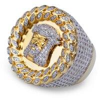 Hip hop Jesus Face Mens Rings AAA CZ Crystal Paved Bling Punk Vintage Ring Men Jewellery For Rocker Gift