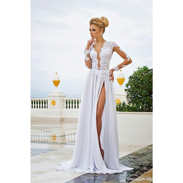 Us 143 39 2017 New Designer Beach Wedding Dresses Long Sleeves Backless Front Slit Wedding Bridal Dress Gowns Robe De Mariee In Wedding Dresses From