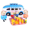 Pink Pig Family & Picnic Cart PVC Four Pigs Luxury Foods Action Figures Family Hot Cartoon Educational Prtend Play Toys