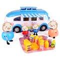Pink pig & family picnic cesta pvc cuatro figuras de acción de alimentos de lujo caliente de la familia de cerdos de dibujos animados educativos juguetes prtend play