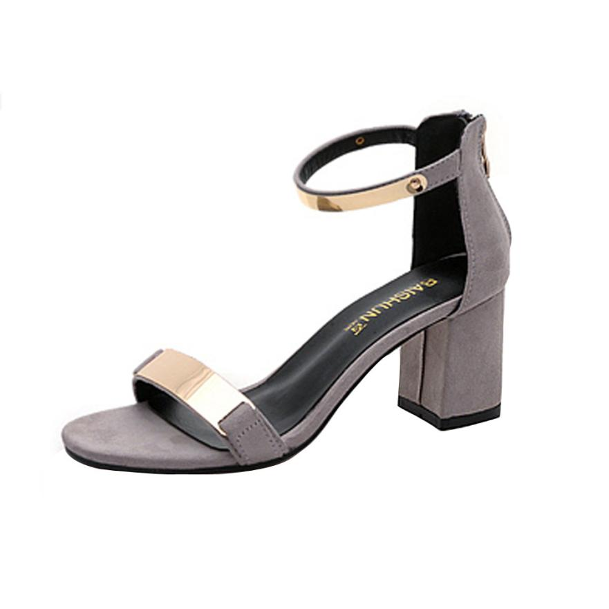 2017 New Arrivals Summer High Heel Female Apricot Black Sandals Women Shoes Casual Buckle Strap Sweet Sandals Square Heel D33M12 xiaying smile summer new woman sandals platform women pumps buckle strap high square heel fashion casual flock lady women shoes