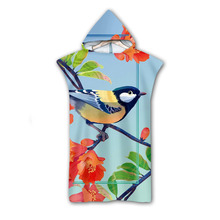 3D Digital Printing Parrot Hooded Towel Wearable Bath For Adults Flamingo Tropical Travel Microfiber Beach Towels style-3