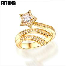 New jewelry 925 sterling silver five-pointed star zircon opening ring ladies wild fashion J036
