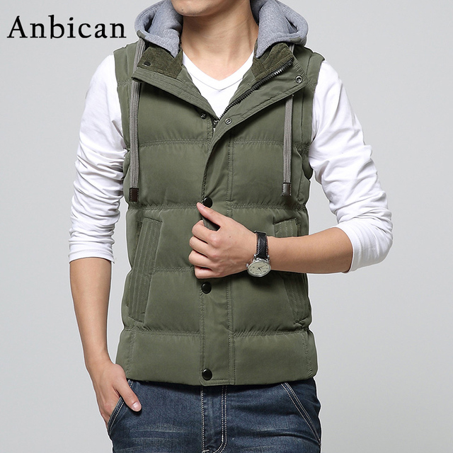 2016 Winter Men's Vest Coat Slim Casual Plus Size M-4XL Fashion Zipper Hooded Army Men Sleeveless Jacket