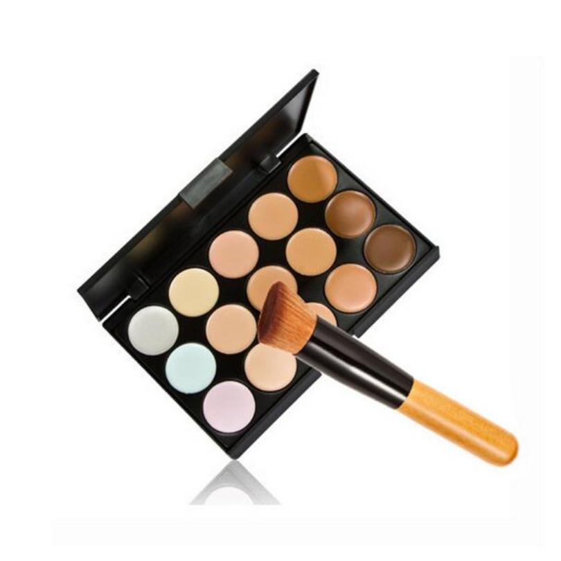 NEW 15 Color Concealer With Oblique Head Brushes Moisturizer Oil-control Concealer Natural Anti-wrinkle Makeup Tools BO