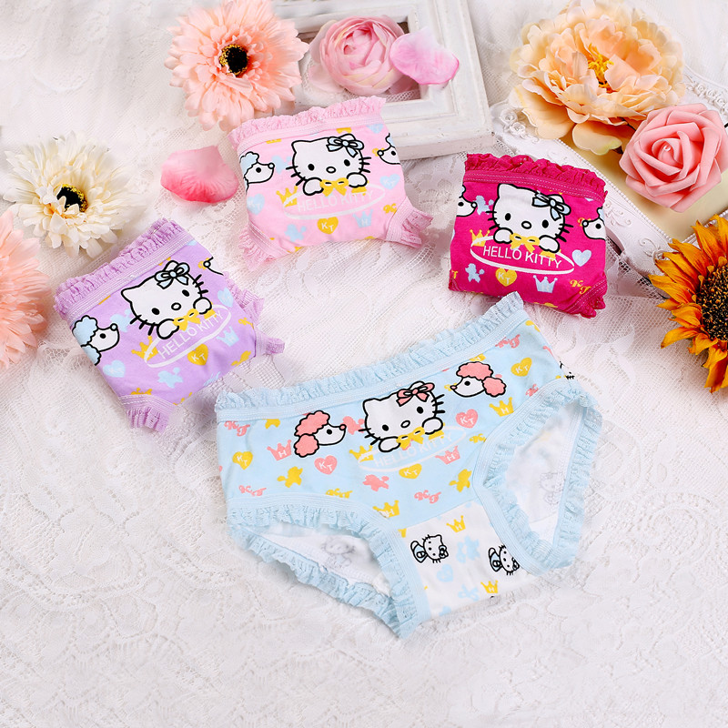 4pcs/lot 2017 new fashion kids panties girls' briefs female child underwear lovely cartoon panties children clothing baby clothe 1