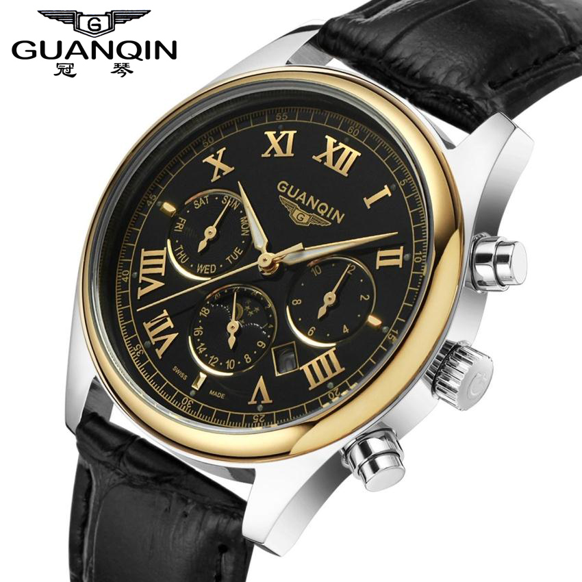 GUANQIN Quartz Watches Men Waterproof Fashion Watch with Calendar Moon Phase Male Leather Strap Clock relogios masculino dom men watch top luxury men quartz analog clock leather steel strap watches hours complete calendar relogios masculino m 11