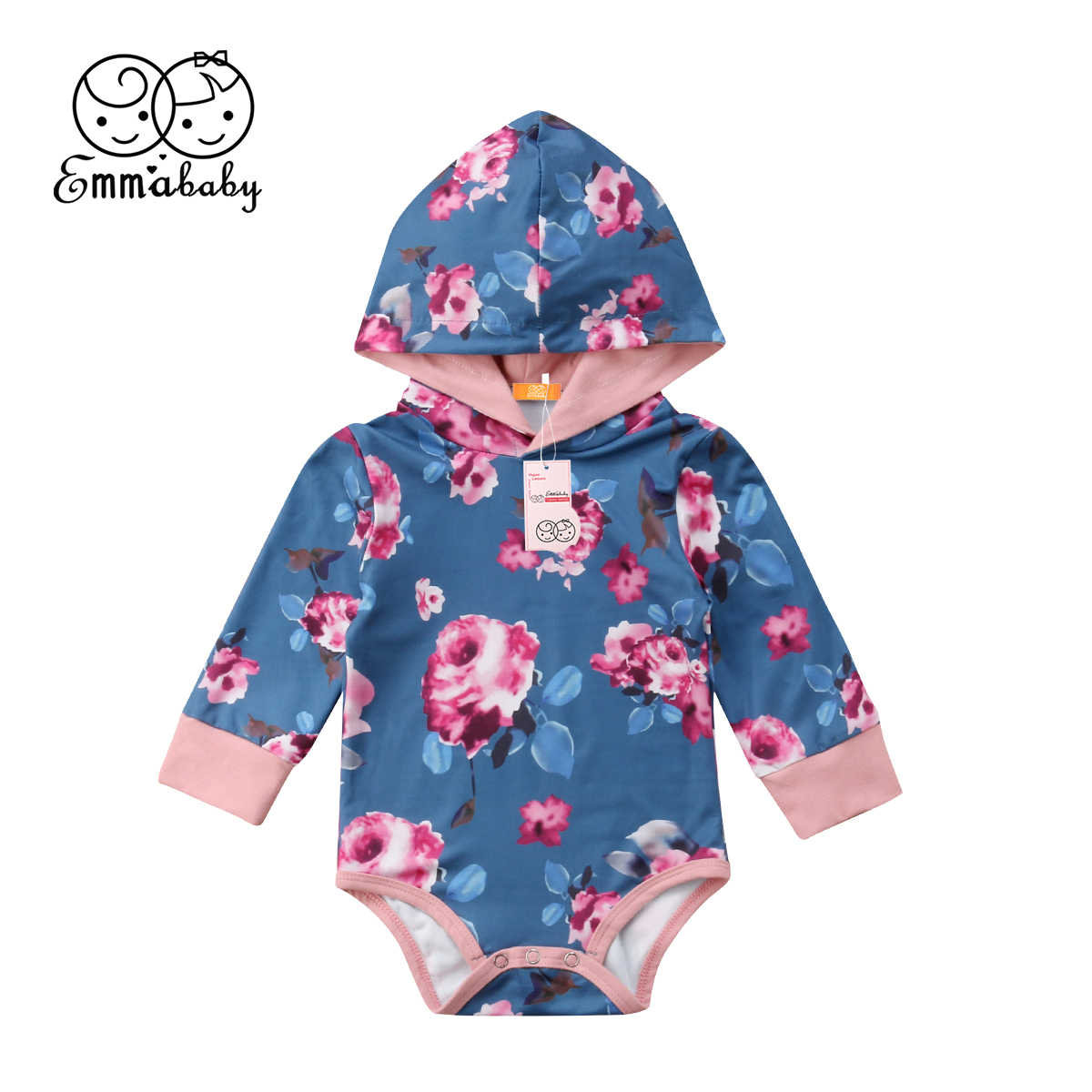 2c8775f86 Newborn Baby Kid Cute Floral Hoodies Romper Jumpsuit Bodysuit Outfit  Coverall Ca