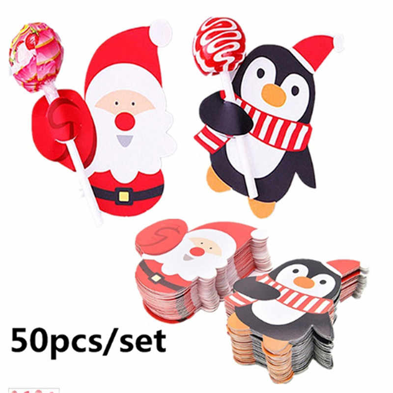 50Pcs Santa Claus Penguin Lollipop Christmas Card Lolly sugar-loaf Xmas Party Decorations Gift For Home 2018 Decorated