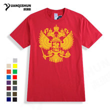 Rusia T-shirt Eagle Flag T Shirt Pro Kitty Uni Soviet Ru Uni Soviet Pria Merek Pakaian 100% Cotton Top Tees Musim Panas 2018 panas Tshirt Gaya(China)