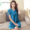 Women sexy v-neck lace nightgowns short sleeve 100% polyester summer women's night sleepwear L-XXL with bow-tie design 3 colors