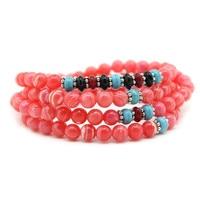 2019 Fashion bracelets Women Boho Jewelry Crystal Chakra Pink Natural Rhodochrosite Beads Wrap Bracelet for Women Charm Bracelet