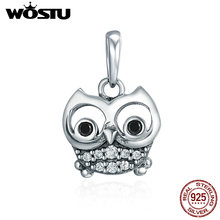 Wise Owl Charms Pendant with Freshwater Pearl Solid 925 Sterling Silver Lucky Animals Bead for Beacelet Necklace 1m0sUVmPT