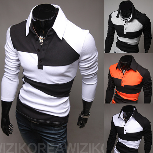 9902a50e1d6 2014 New Branded Designer Men Polo Shirt Long Sleeve Turn Down Collar  Striped Patchwork Black White Gray Orange Tops Lp795-in Polo from Men s  Clothing on ...
