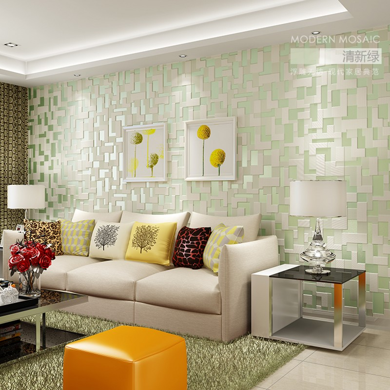 PAYSOTA High Quality 3D Mosaic Lattice Wall paper Europe Modern Embossed Flocking Non-Woven Living room TV Background Wallpaper