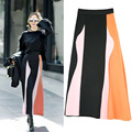 2017 Early Spring New Women's Fashion Skirt Wavy Three-color Stitching High Waist Was Thin Long Skirt