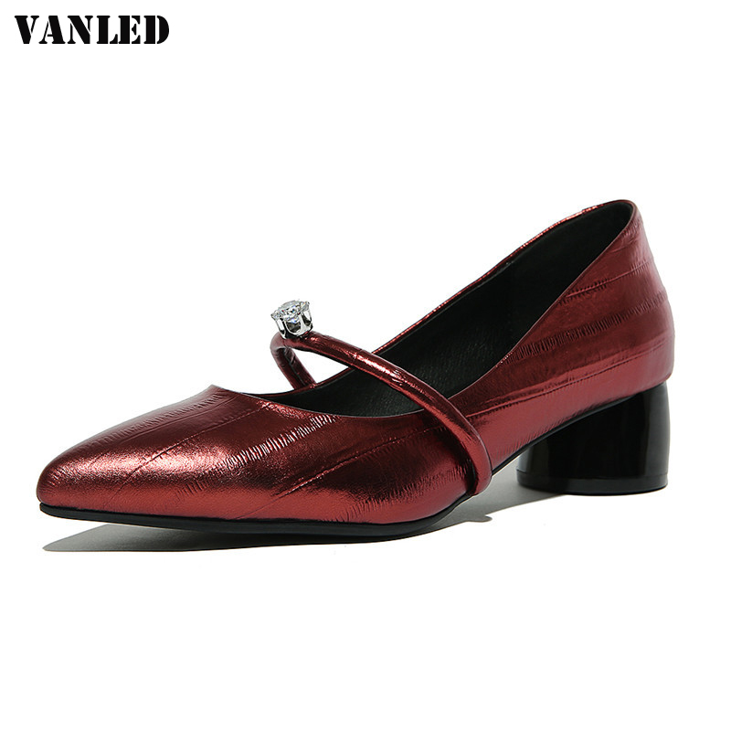 Ouqi Store VANLED diamond high 2017 New Pattern Classic leisure Wine red Silver Dichotomanthes bottom High heels with square Genuine Leat
