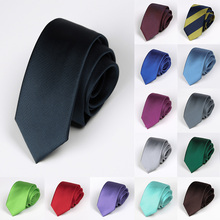24 Solid Colors 2019 New 6cm Skinny Ties Fashion Mans Necktie Navy Blue Classic Slim Neck Wedding Party Groom Tie
