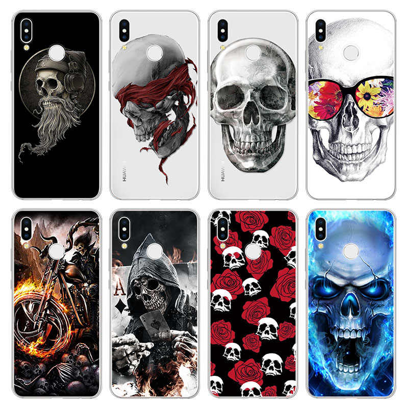 Flower Skull Silicone Capa For Huawei Honor 8X View 30 20 Note 10 10i 20i 9 9X Lite Play 3 8S 8A 8C 8 7X 7A Pro 7 6X Roque Cases