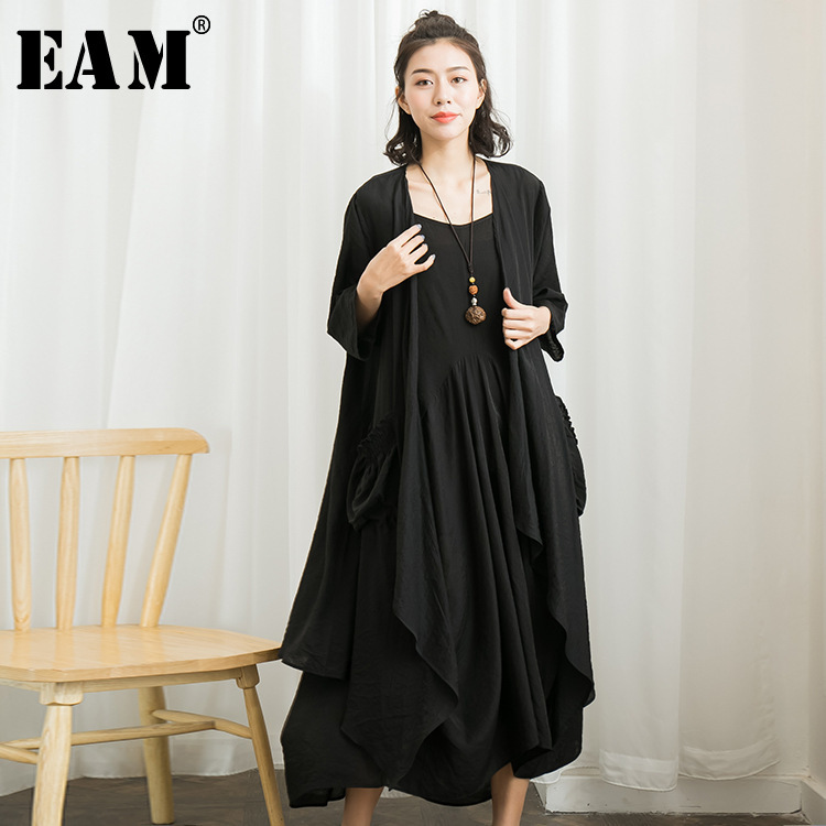 [EAM] 2018 New Summer Round Neck Sleeveless Black Big Hem Loose Big Size Jacker Two Piece Dress Women Fashion Tide JG004