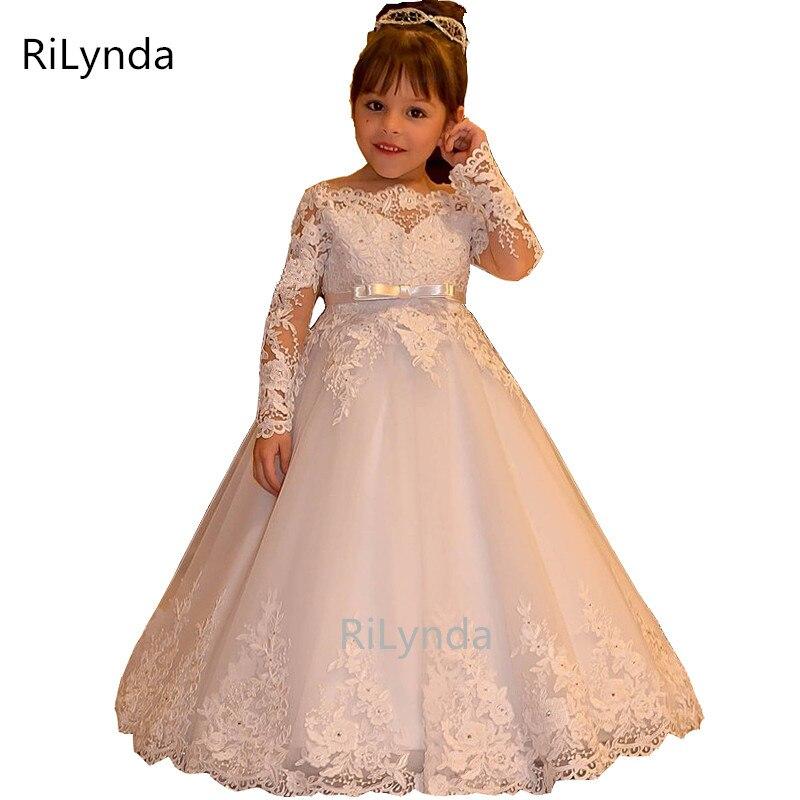 Flower     Girl's     Dress   For Wedding Light Pink Lace Appliques Long Sleeves Bow Sash Birthday   Dress   With Sash Floor Length Custom