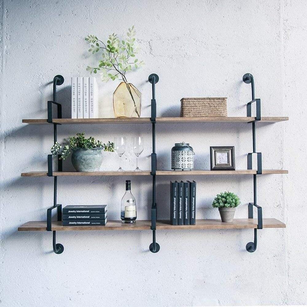 Wall Shelves Floating Shelf Wall Bookrack Iron Shelves Display Commodity Shelf Unit Room Divider Shelf Industry Style - 3