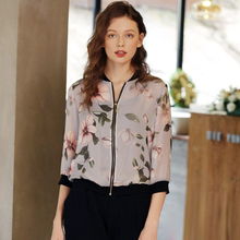 Jacket Women 100% Silk Lightweight Fabric Print Three-quarter Sleeves 3 Colors Casual Bomber Coat Fashion Style New Fashion 2018