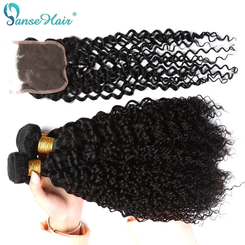 Panse Hair Mongolian Kinky Curly Human Hair Weaving Customized 8 To 28 Inches Hair 4 Bundles Hair Weft With Closure 4X4 Non Remy