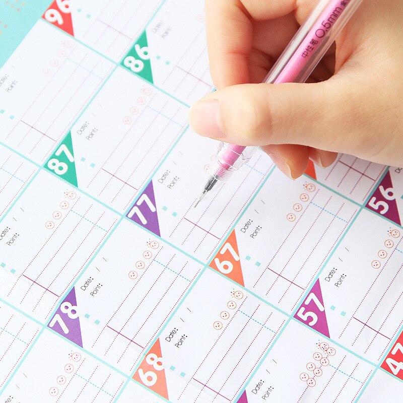 Neue 100 Tag Countdown-kalender Lernen Zeitplan Periodische Planer Tisch Geschenk Für Kinder Studie Planung Lernen Liefert Reinweiß Und LichtdurchläSsig Office & School Supplies