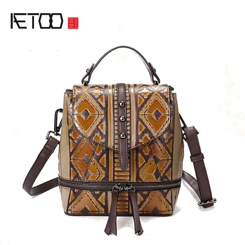 AETOO Shoulder bag Korean version of the new women's bag fashion retro lady casual hand-wiping travel tide new winter casual big bag korean version of the retro simple small bag wild fashion messenger shoulder messenger bag tide